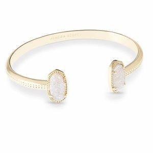 Kendra Scott Elton Gold Tone Cuff Bracelet in White Iridescent Drusy
